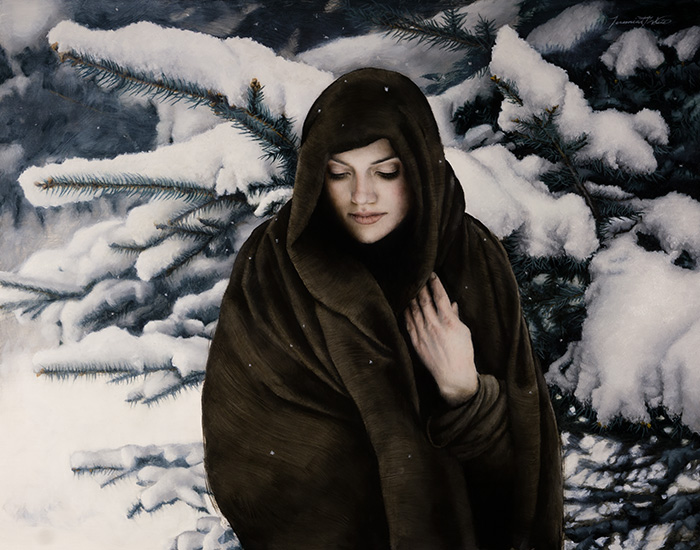 A figurative painting of a hooded woman in front of snow covered pine trees in the winter.