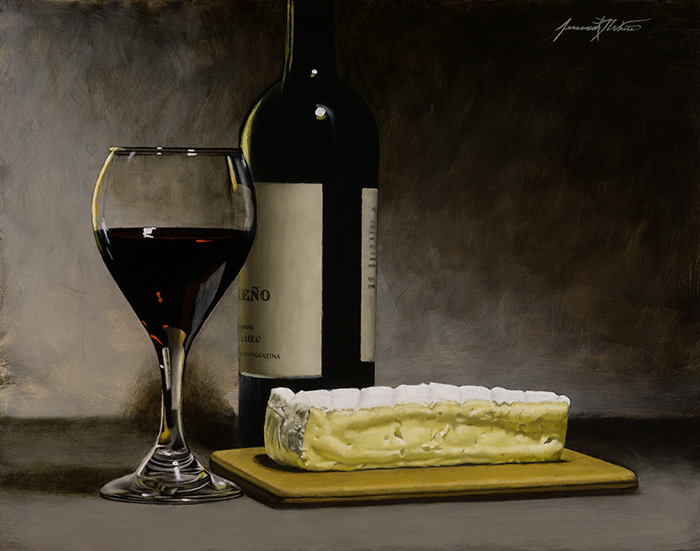 A still life painting of red wine (malbec) in a glass and bottle with brie cheese on a board.