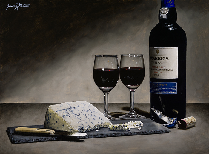 A still life painting of port wine (Warre's Vintage Porto) with two glasses and Gorgonzola blue cheese on a slate cheese board.