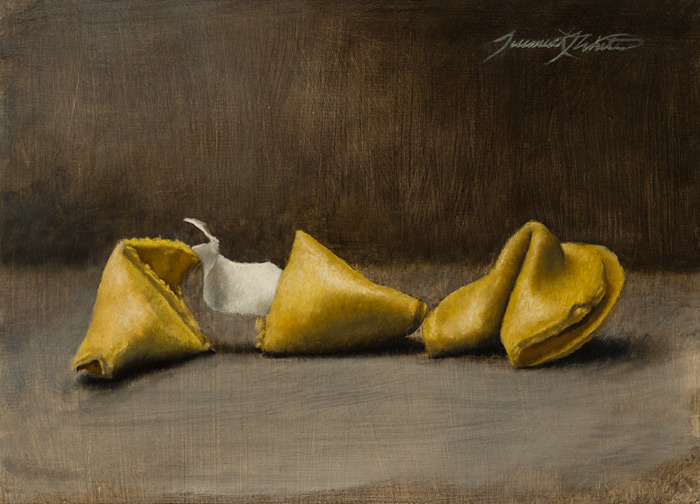 A still life painting of two fortune cookies, one of which is broken to reveal the fortune. The fortune is blank.