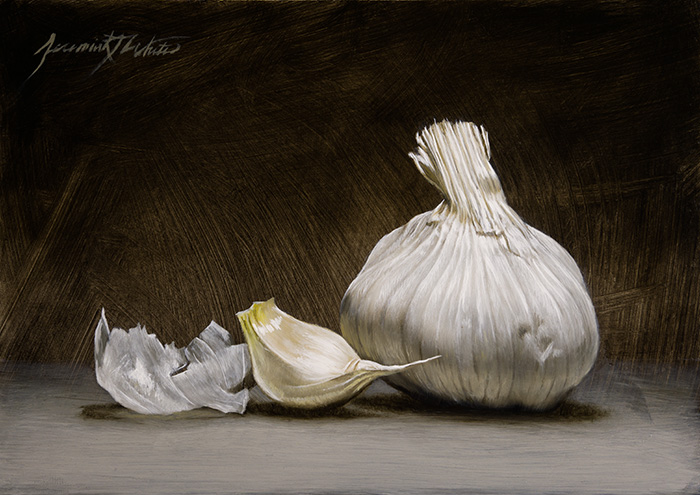 A small painting of garlic skin next to a clove and a bulb.