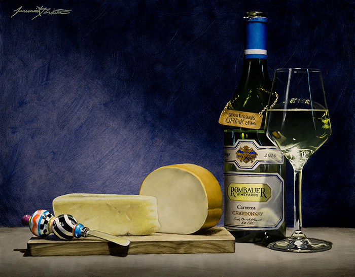 A still life painting of two different kinds of smoked gouda next to a cheese knife and a green Rombauer Vineyards bottle and glass of chardonnay.