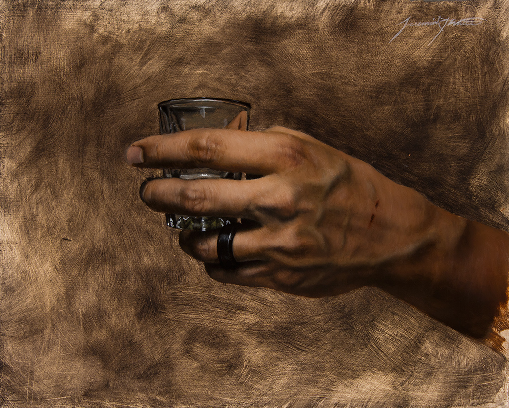 A Small Painting Of The Artist S Left Hand Holding An Empty Shot Gl