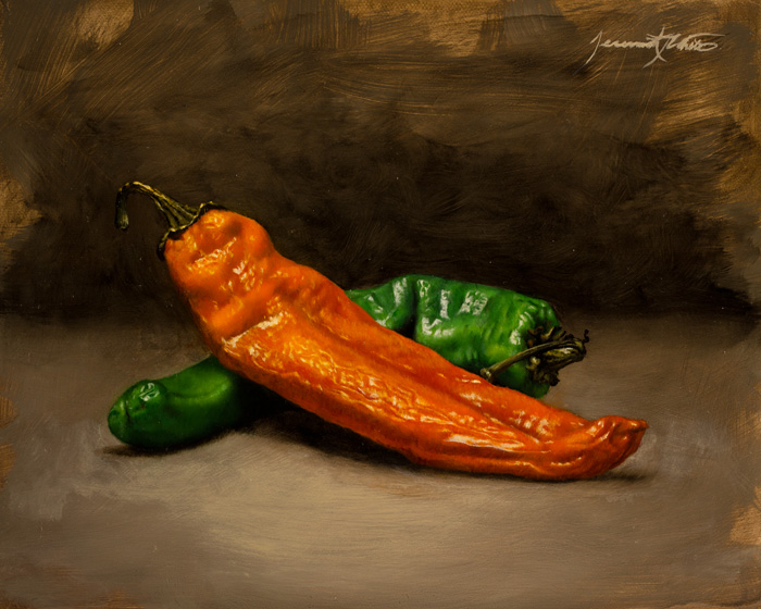 A still life oil painting of two wrinkled hatch chiles. An orange chile rests upon a green chile.