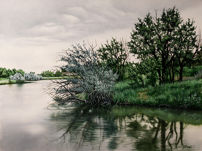 A landscape painting of a lake in Thornton, CO.