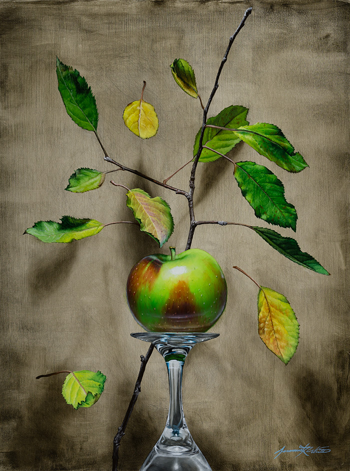 A still life painting of a green and red McIntosh apple on an upside-down wine glass surrounded by falling autumn apple tree leaves.