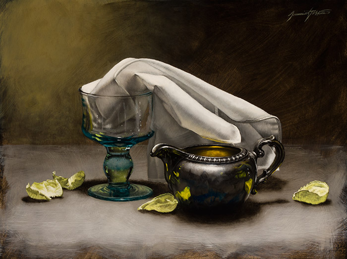 A still life painting of a green glass goblet, silver creamer, white cloth, surrounded by yellow rose petals. Memory was shown in the October 2014 issue in Southwest Art Magazine.