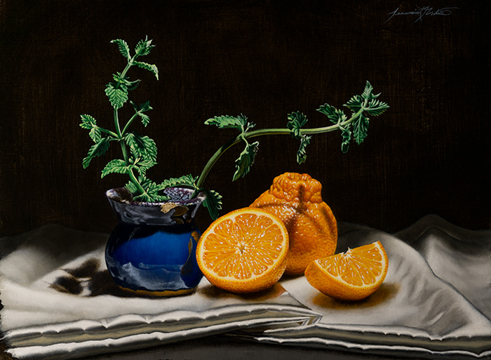 A still life painting of tangelos, one cut in half, on silky white fabric next to a blue glazed clay pot containing mint.