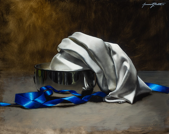 A still life/landscape painting of a white silk cloth in a silver bowl surrounded by blue ribbon.