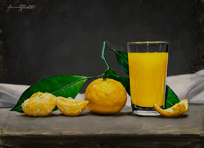A still life painting of an orange with the leaves and stem attached with wedges of oranges next to it. A glass of orange juice is next to the oranges and part of a peel.