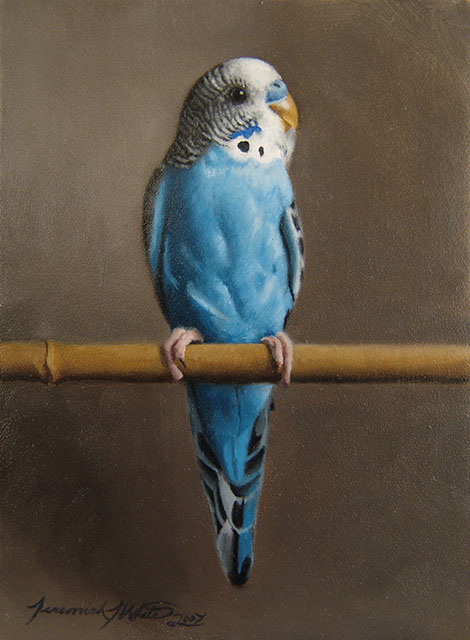 A small painting of our beloved blue parakeet, Percy. He is perched on a bamboo stick.