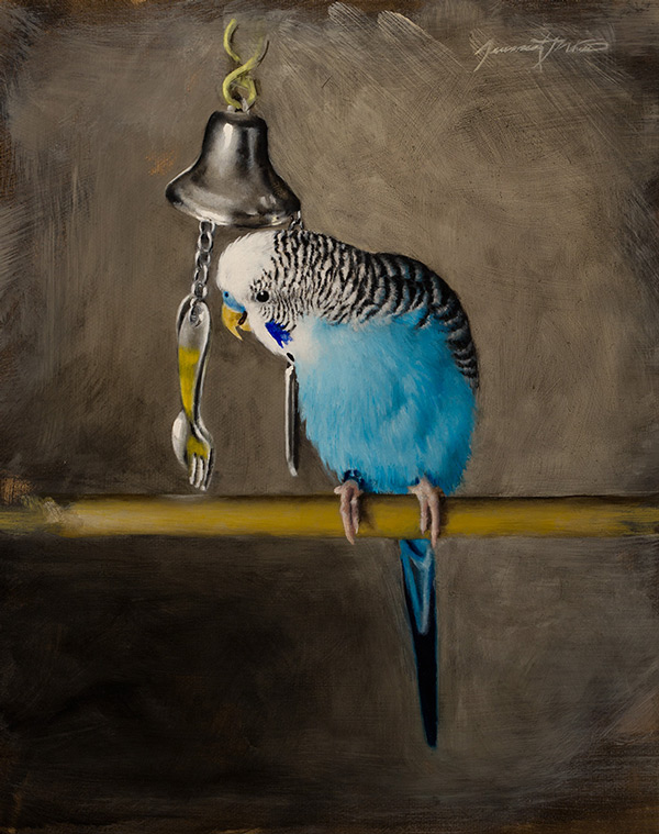 An animal painting of a parakeet named Percy playing with his silverware bell.