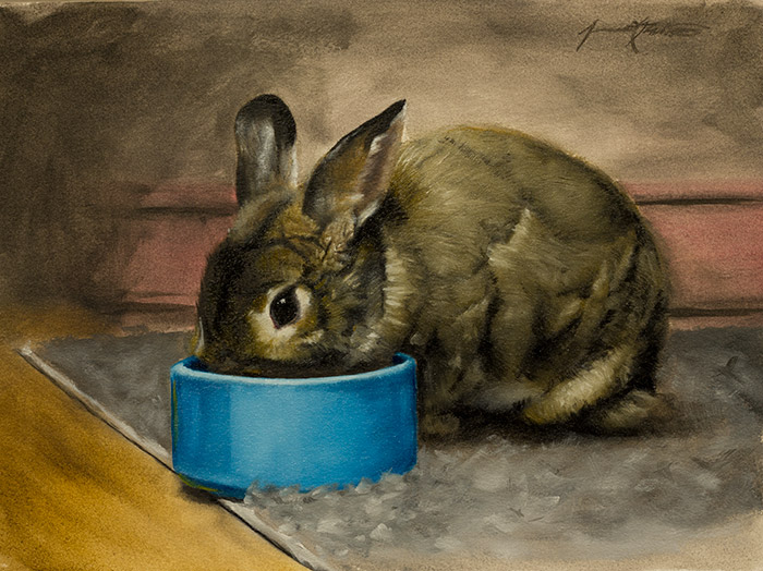An alla prima animal painting of Petunia, the house rabbit. She is eating her pellets out of a blue bowl.