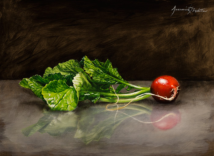 A still life oil painting of a radish in a kitchen.