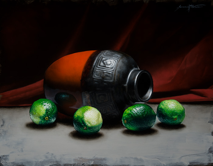 A still life painting of limes surrounding a red and black jar in front of a red cloth background.