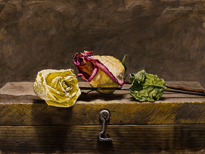 A still life oil painting with two dried roses on a handmade antique wooden art box.