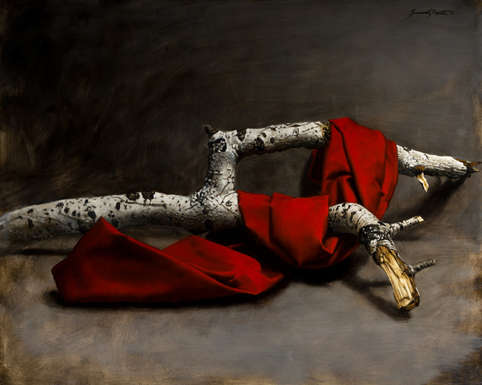 A still life painting of a red cloth draped over and intertwined with a broken white aspen branch. This painting was featured in Southwest Art Magazine.