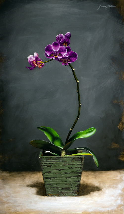 A still life painting of a tall orchid with violet flowers in a weathered wooden green vase.