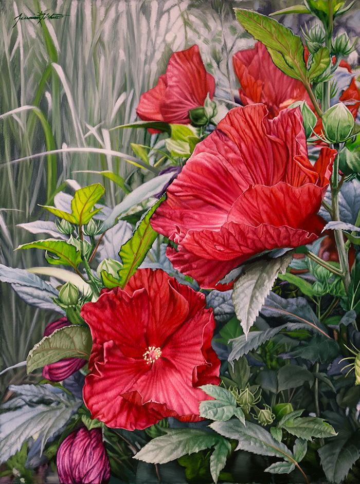 A still life painting of red and violet hibiscus flowers in a garden in Washington Park, Denver.