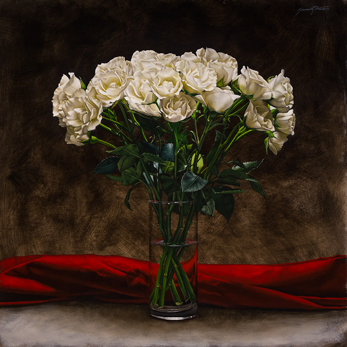 A still life oil painting of a bouquet of white roses in a glass vase filled with water. This stands in front of a length of red cloth in the background.