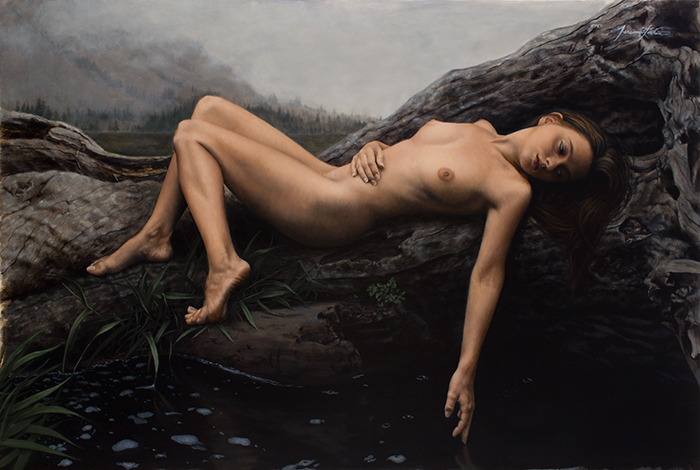 This figurative painting is of a young nude woman who is lying on a large dead tree next to a river or creek. She gazes peacefully into the dark black water while her finger barely touches the surface. It is a cloudy day and a storm appears to be approaching.