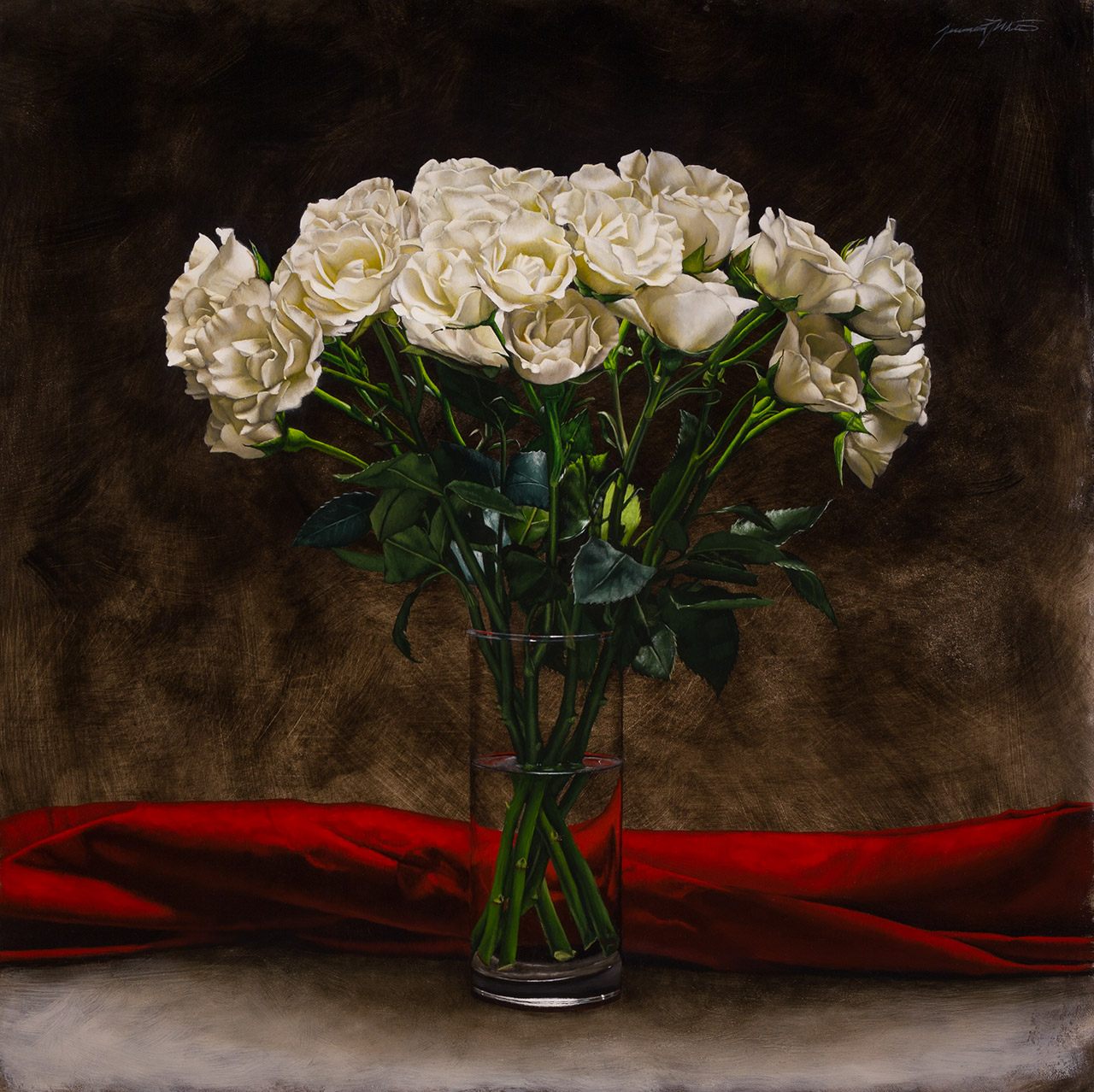 White Rose Bouquet Oil On Panel Artist Jeremiah J White